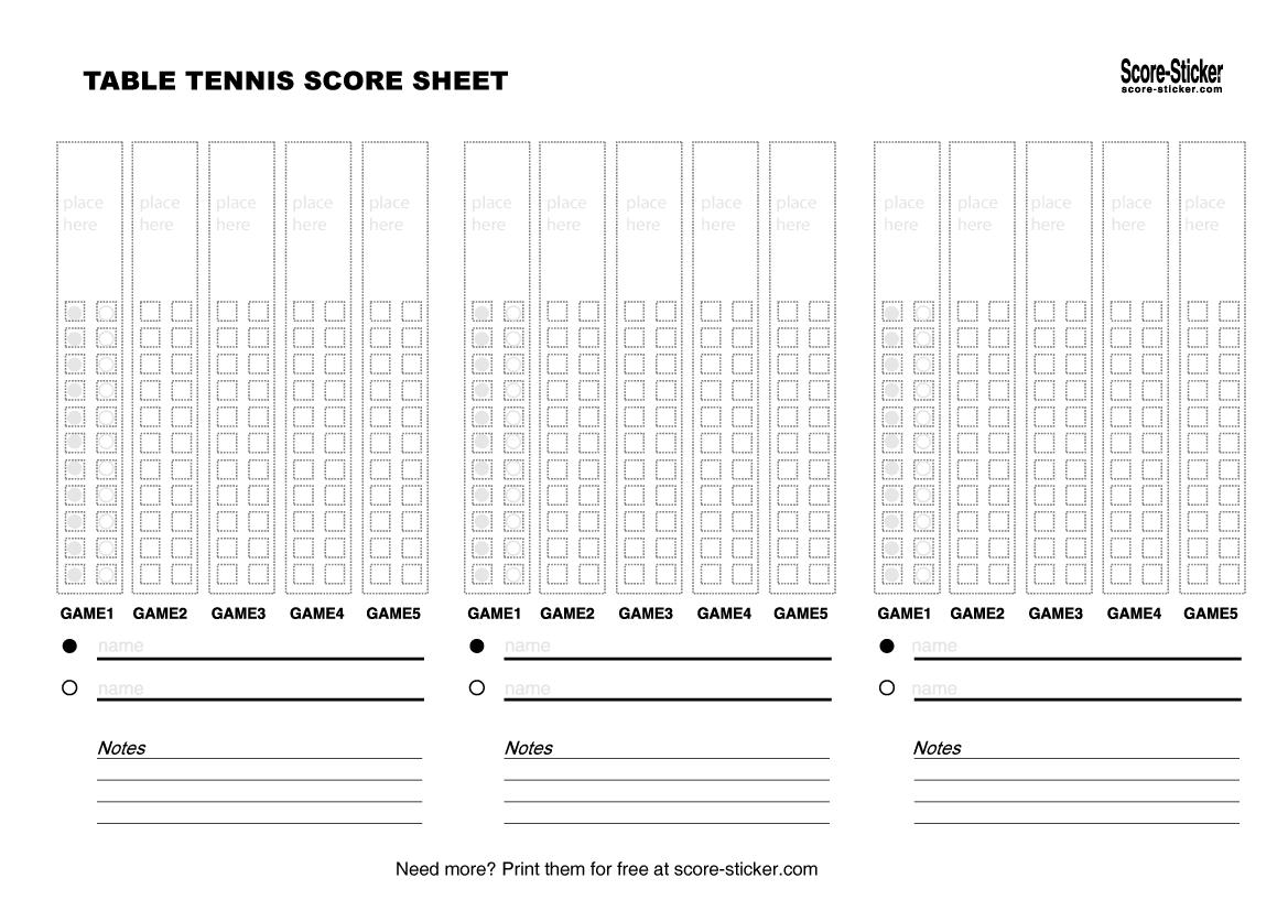 Table Tennis Tournament Score Sheet Excel